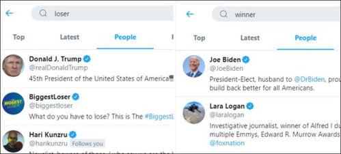 在推特上搜种族主义特朗普账号排首位