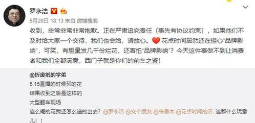 罗永浩5.20卖花翻车背后花点时间获高圆圆鹿晗投资一年卖3亿只花