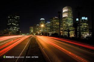 城市夜景车流美丽风景
