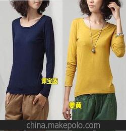 春季单品韩版纯棉莫代尔圆领长袖纯色女t恤打底衫批发