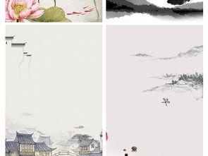 中国风古风水墨山水白鹤荷花建筑背景素材图片 模板下载 4.38MB 中国...