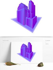 商用原创简约几何2.5D渐变建筑设计元素图片素材 其他格式 下载 互联网图标大全