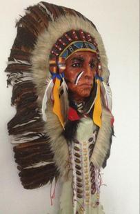 泰国大号印第安人鹰头土著首领 羽毛 兽毛 布艺面具 手工镇宅挂饰